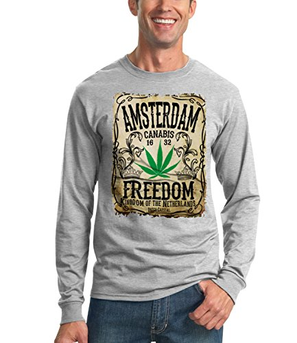 Billion Group | Amsterdam - Freedom For Canabis | City Collection | Men's Unisex Sweatshirt Grigio Large