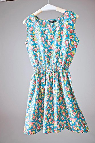 Bigood Robe Femme Mousseline de Soie Mini-robe Plage Col Rond Sans Bleu S