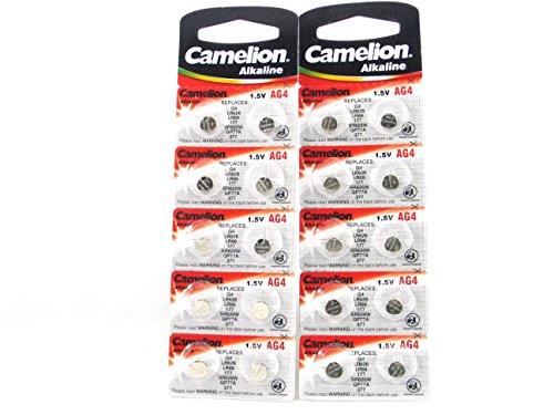 20 Camelion AG4 / LR66 / 177 / 377 / LR626 Knopfzelle Alkaline Alkali Batterie, 2x 10-er Pack, Lange Haltbarkeit (Haltbarkeitsdatum markiert)
