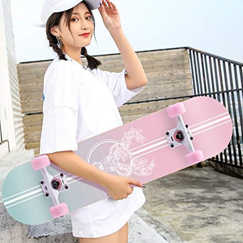 FDHLTR Roller Maple Long Board Pinsel Street Dance Board Vier Räder Doppel Skateboard Skateboard Anfänger Teen Boy Girl Professionelles Skateboard Skateboard (Color : E)