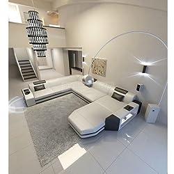 Mega dormitorio paisaje césped XXL con iluminación blanco/negro