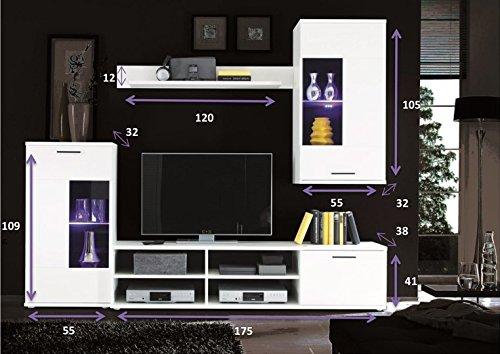 AVANTI TRENDSTORE – Wohnwand mit LED Beleuchtung in weiß Dekor, ca. BHT 230x180x40 cm - 4