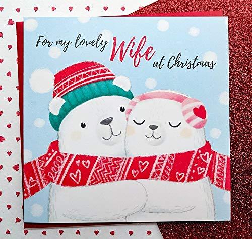 Wife Christmas Card Hand Drawn | Cute Polar Bears Card | Wife Cards | Romantic Christmas Card For Wife | Christmas Gift