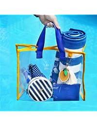 SWD Prime Transparent PVC Handbag Waterproof Travel Swimming Storage Bag Beach Clothes Bags - B07DX19YD4