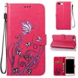 "Coque Etui pour iPhone 7 Plus, iPhone 7 Plus Coque Dragonne Portefeuille PU Cuir Etui, iPhone 7 Plus Coque de Protection en Cuir Folio Housse, Apple iPhone 7 Plus Leather Case Wallet Flip Protective Cover Protector, Cozy hut Etui de Protection PU Cuir Portefeuille Relief Papillon Narcisses Coque Housse Swag Case Cover Coquille Couverture avec Fonction Stand et Fentes de Carte de Crédit pour Apple iPhone 7 Plus 5.5"" Pouces - Red Rose"