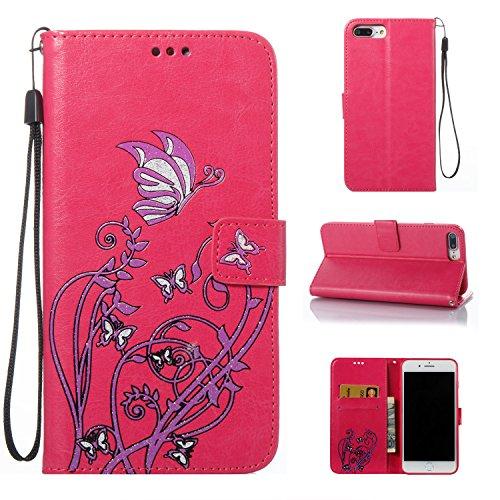 Cozy Hut iPhone 7 Plus/iPhone 8 Plus Hülle, Narcissus Muster Leder Wallet Case Handyhülle Klapper...