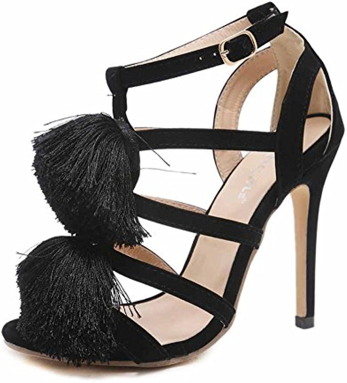be2c3a5c23ad GLTER Women Tassel Plush Ball Pumps 2018 Fashion New New New Charming High  Heel Suede Hollow Sandals B07CXR683Y Parent 3859d9