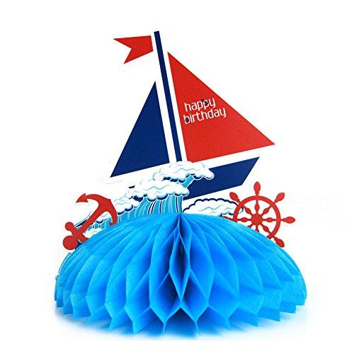 SUNBEAUTY Papier Segelschiff Tischaufsätze Maritime Dekoration Blau Mottoparty Maritim