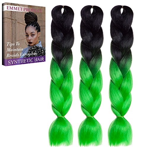 Jumbo Braids-Premium Qualität 100% Kanekalon Braiding Haarverlängerung Full Bundles 100g / pc Synthetik Haar Ombre 24Inch 3Pcs / lot Hitzebeständig, lange Zeit mit-37 Farben 2Tone & 3Tone, Garantie 1 Woche (Kostüme 3 Familie Beste)