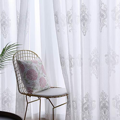 Tende trasparenti voile tovaglia bianca in lino colore caffè foglie 3d ricamo per soggiorno camera da letto trattamento finestre anti uv tende da finestra tenda finita custom made 1 pannelli