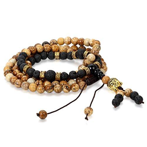 Flongo Pulseras budistas de piedras marrón negro, Lava pulsera collar de energía buena fortuna, Bendición 6mm retro vintage para Hombre Mujer