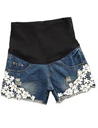 Zhuhaixmy Casual Damen Mode Kurze Jeans Umstandsshorts/Umstandshose mit Bauchband Verstellbar