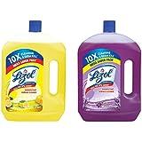 Lizol Disinfectant Floor Cleaner Citrus, 2 L & Disinfectant Surface Cleaner Lavender 2L Combo