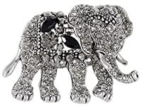 Alilang Indian Animal Kingdom Elephant African King Black Crystal Rhinestone Broach Pin