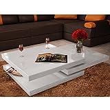 Festnight Table Basse de Salon Carrée Pivotante avec 3 Plateaux