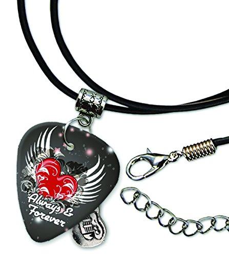 always-forever-love-heart-pick-de-guitarra-collar-de-cordon-de-cuero-gd