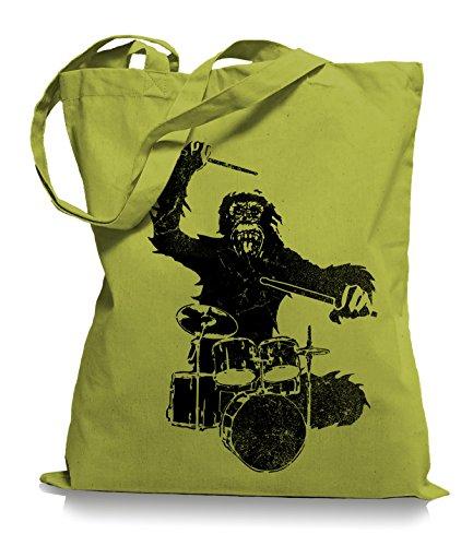 Ma2ca® Gorilla Drummer - Jutebeutel Stoffbeutel Tragetasche / Bag WM101 Kiwi