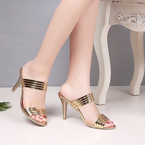 n Sandalen Sommer hochhackigen Hausschuhe Mädchen mit Perlen Hausschuhe, goldfarben (Hausschuhe Für Mädchen Auf Verkauf)