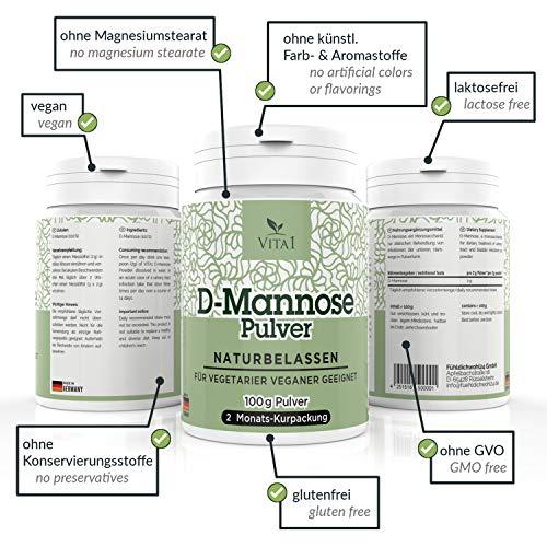 Vita 1 D-Mannose Pulver diätetische Behandlung gegen Blasenentzündung 100g (2 Monatspackung) rein, naturbelassen & vegan, 100 g