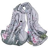 Kavitoz Fashion Women Long Leopard Shade Shawl Scarf Wrap Soft Oversized Chiffon Scarves (Gray)