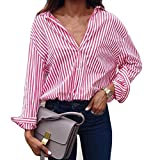 VJGOAL Damen Bluse, Damen Mode Striped Printed Langarm-Lose Bluse Casual Arbeit Herbstliche T-Shirt Tops (Rosa, 42)