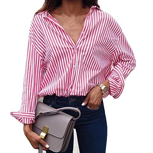 VJGOAL Damen Bluse, Damen Mode Striped Printed Langarm-lose Bluse Casual Arbeit Herbstliche T-Shirt Tops (Rosa, 36)