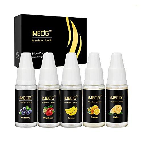 IMECIG® E Shisha Liquid Obst 5 Pack x 10ml , Erdbeere+ Orange + Banane + Blaubeer + Melone, VG Basierende E Flüssigkeit, Probierset für E-Zigaretten und E-Shishas Starterset, mit 0,0mg Nikotin
