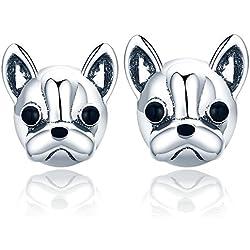 Presentski Pendientes de perro, Pendientes Mujer plata de ley 925 con French Bulldog Doggy