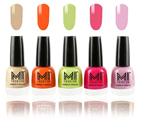 MI Fashion Trendy Colors Nail Polish Enamel Combo of 5 - Nude Beige, Candy Coral, Lime Green, Neon Pink, Light Lilac - 12ml each