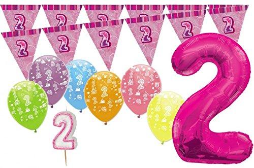 2. Geburtstag Pink XXL Folienballon + Girlande + Luftballons + Kerze Deko Set – Zwei