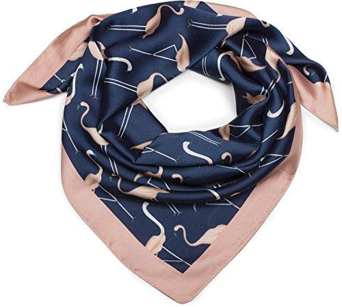 styleBREAKER seidiges Viereckstuch mit Flamingo Print und farblich abgesetztem Rand, Tuch, Halstuch, Kopftuch, Damen 01016164, Farbe:Blau-Rose -