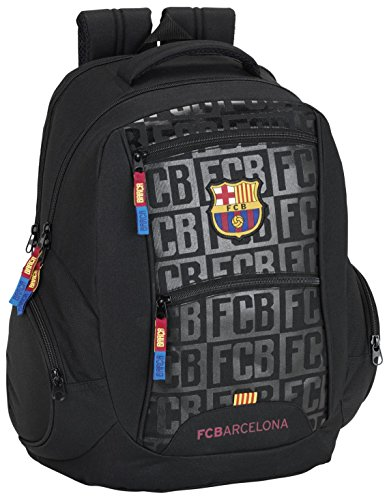 FC Barcelona Mochila Escolar, 44 cm, Negro