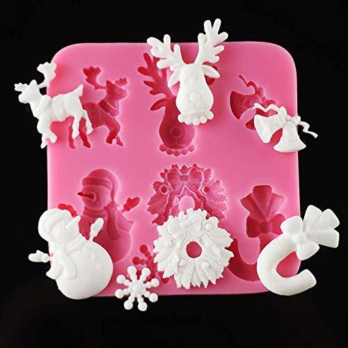 Hunpta@ MouldWeihnachten, Silikon-Weihnachtsbaum Santa Claus Elk Schlitten-Stock-Form-Schokoladen-Kuchen-Formen (A)