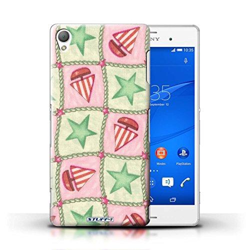 Kobalt® Imprimé Etui / Coque pour Sony Xperia Z3 / Turquoise/Orange conception / Série Bateaux étoiles Vert/Rouge