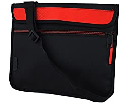 Ultra Slim Stylish Trendy and Water Proofed, Shock Proofed, Protective Laptop Pouch Bag Sleeve Carry Case Cover For 11 Inch ,11.6Inch Laptop With Horizontal (Red) Removable Shoulder Strap, Extra Pocket, Black Suitable For HP / Acer / Sony / Asus / Lenovo / Fujitsu / Dell / Toshiba / I ball / Apple and All Brand Laptops - Saco