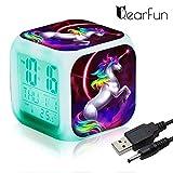 Réveils numériques Licorne pour les filles, Cube LCD LED de nuit avec enfants légers Réveillez-vous l'horloge de chevet Cadeaux d'anniversaire pour les enfants Femmes Chambre adulte (unicorn 4)