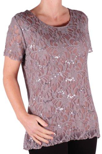 EyeCatch Plus - T Shirt manches courtes en dentelle oversize - Marla - Femme - Plusieurs Tailles et Couleurs Moka