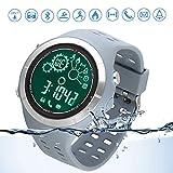 Reloj deportivo Bluetooth reloj para correr sumergible IP67 Control Remoto de Cámara Reloj Bluetooth Podómetro para teléfonos Android e IOS – Gris