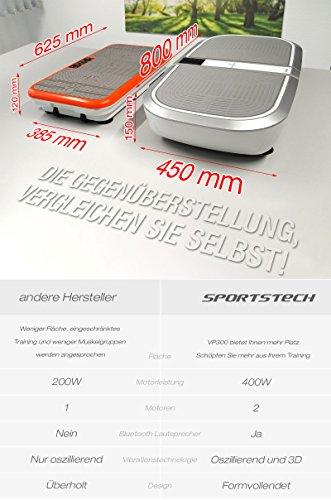 TESTSIEGER Sportstech Profi Vibrationsplatte VP300 Mit 3D Wipp Vibrations Technologie – Bluetooth A2DP Musik, Riesige Fläche-2 Kraftvolle Motoren – Einmaliges Design – Trainingsbänder – Fernbedienung - 4