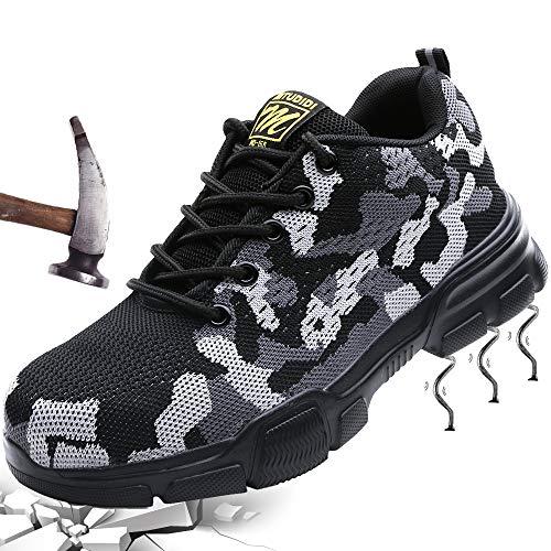 Mitudidi Sicherheitsschuhe Herren Arbeitsschuhe Damen mit Stahlkappe Kevlar Atmungsaktiv Schutzschuhe Sportlich Turnschuhe Sneaker Outdoor Leicht Unisex Grau 36