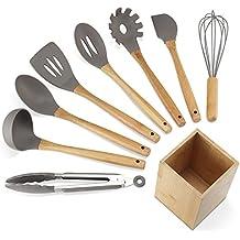 NEXGADGET Utensili da Cucina Bambù 9 Pezzi con Spatola Raschietto Cucchiai da Cucina Frusta Pinza