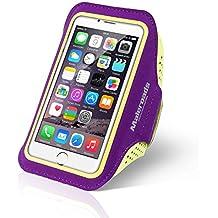 Para iphone 66S Funda de brazalete deportes correr brazo bolsa para Samsung S3S4Xiaomi 4ejercicio Running Senderismo resistente al agua sudor prueba teléfono móvil bolsa de brazo suave correa de muñeca también para otros teléfono móvil, morado