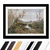 Bild mit Rahmen - Adolf Kaufmann Herbstliche Moorlandschaft 60x40cm ca. A2 - Gerahmter Kunstdruck inkl. Galerie Passepartout Alte Meister - Rahmen schwarz glatt