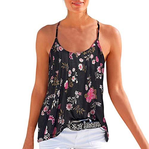 iHENGH Damen Top Bluse Bequem Lässig Mode T-Shirt Sommer Blusen Frauen ärmellose Sling Neckholder Blumendruck Trägershirt beiläufige Bluse(Schwarz, S) - Olive Paintball Weste