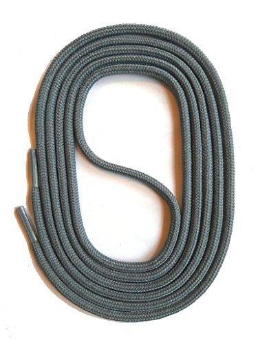 SNORS Schnürsenkel GRAU RUND 3mm, 75cm reißfest, Made in Germany Rundsenkel aus Polyester für Sportschuhe Sneaker Turnschuhe Laufschuhe und Business-Anzug-schuhe