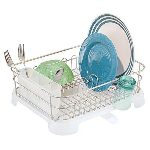 mDesign égouttoir – égouttoir à vaisselle avec range-couverts et drain – couverts, verres et tasses sèchent en un tour de main – satiné/mat