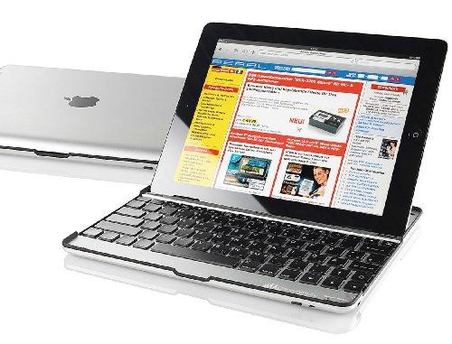 GeneralKeys Tastatur Bluetooth: Alu-Schutzcover ISC-288 mit Tastatur für iPad 2 (iPad-Tastatur mit Bluetooth) Wireless Tastatur Ipad2