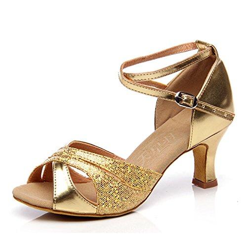 Xianshu Mujeres Latín Baile Zapatos Cross Correa Tobillo Hebilla Lentejuelas Pescado Boca Sandalias Medio Talón Zapatillas (Gold-39 EU)