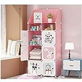 Kombination Garderobe Lagerung Cartoon Einfache Montage Kind Garderobe Kunststoff Schrank (Farbe : Rosa, größe : 5A)