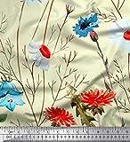Soimoi Gelb Samt Stoff Blätter, Aster & Echinacea purpurea